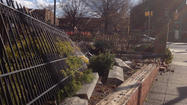 Part of fence at Old Otterbein Church toppled