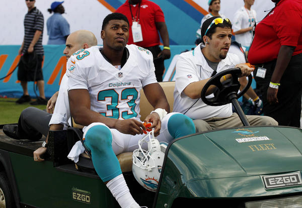 Daniel Thomas suffered a serious right ankle injury in the second half (he left the stadium on crutches and with his right leg in a walking boot) and his absence forced the Dolphins to rely heavily on Lamar Miller, which handcuffed the offense slightly. With Thomas likely out for the season, the Dolphins will be forced to use return specialist Marcus Thigpen to carry the football, or activate rookie tailback Mike Gillislee, the team's fifth-round pick. -- Omar Kelly
