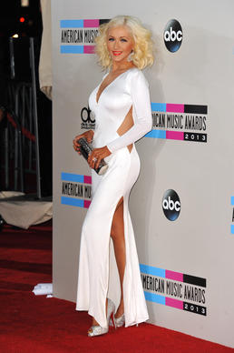 Singer Christina Aguilera arrives at the American Music Awards at the Nokia Theatre L.A. Live.