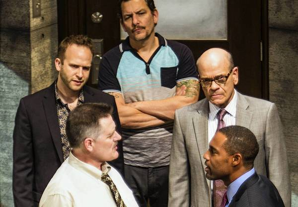 "Gregory North, left, Adam J. Smith, Bradford Tatum, Robert Picardo and Jason George in ""12 Angry Men"" at Pasadena Playhouse."