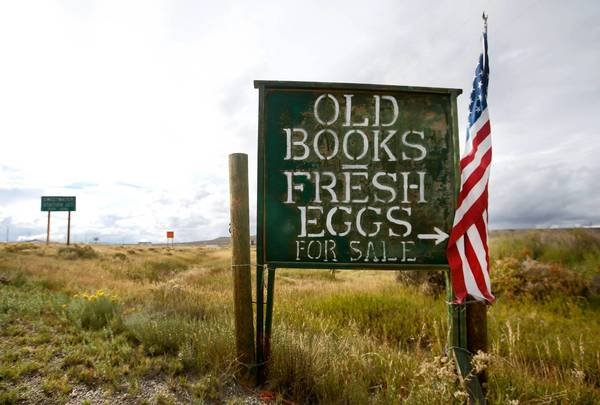 A sign off the highway in Sweetwater Station, Wyo., is the only advertisement for the eccentric Mad Dog and the Pilgrim bookstore, a 70,000-volume collection housed in a two-story barn. Its owners are longtime partners who moved from Denver.