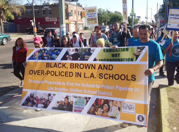 Students, teachers and community activists rallied in South Los Angeles Wednesday for an end to police tickets for student misbehavior that poses no serious threat to others.