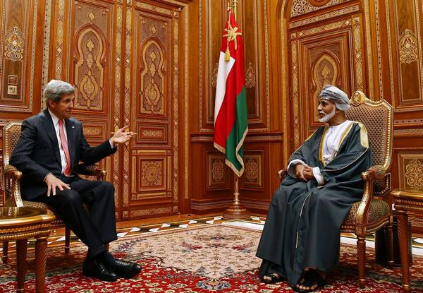 Secretary of State John F. Kerry meets with Oman's Sultan Qaboos bin Said