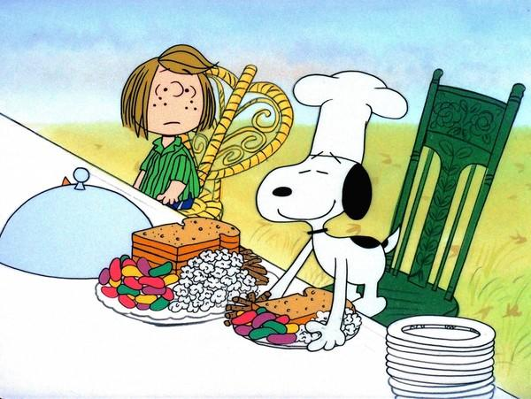 "Peppermint Patty and Snoopy in ""A Charlie Brown Thanksgiving."""