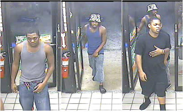 Police are seeking these three men, suspected of stealing a car with a 9-year-old girl in the back seat.