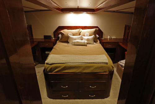 The lone stateroom is seen on the the former presidential yacht, Honey Fitz, as it is docked in West Palm Beach, Florida November 21, 2013.