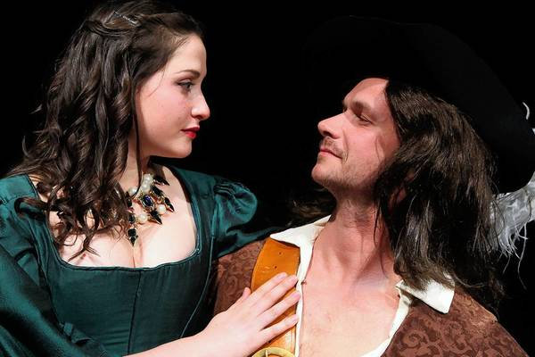 """Anthony Goes and Marisa Desa star in Connecticut Repertory Theatre's """"The Three Musketeers"""" in Storrs."""