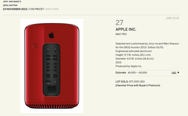 A special edition Mac Pro was auctioned for $977,000 in a charity auction for Product (RED).