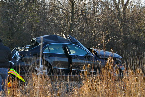 A driver was killed when a Metra train struck the car he was driving (pictured) in Lake Forest on Saturday.