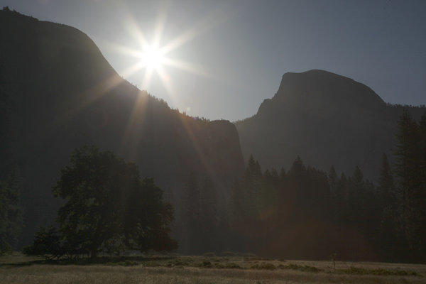 A file photo shows the sun rising over Yosemite National Park.