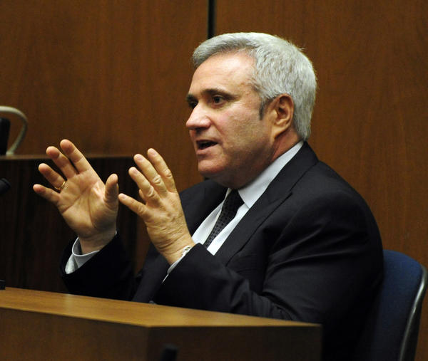 Randy Phillips, seen testifying at the Conrad Murray involuntary manslaughter trial in Los Angeles, is out as CEO of AEG Live.
