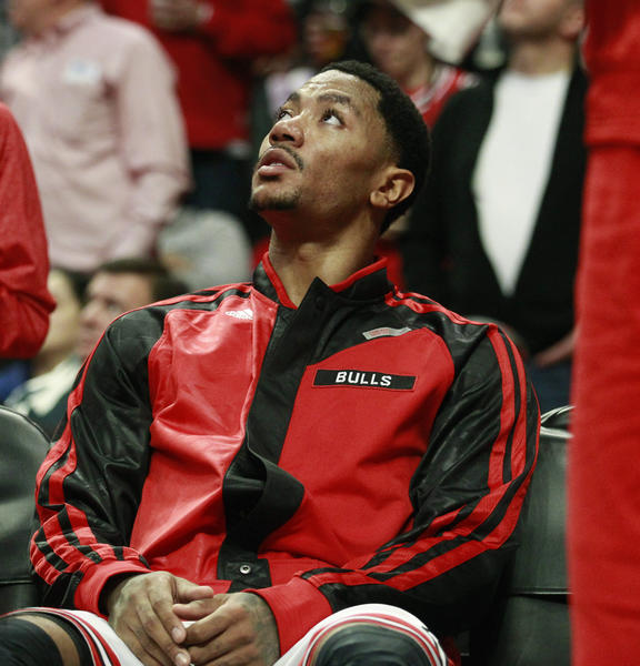 Bulls point guard Derrick Rose watches the scoreboard during the second half of his team's game against the Indiana Pacers at the United Center on Nov. 16.