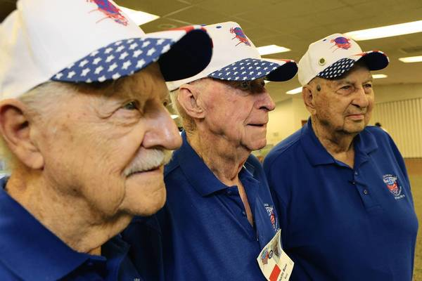 "Hank Pezold,left, Charles Bone and Tom Gaskins were given an ""Honor Flight"" to Washington, D.C as a tribute to their days of service in World War II. The three, pictured on Tuesday, September 10, 2013, are residents of Lakeview Terrace in Altoona, Fl."