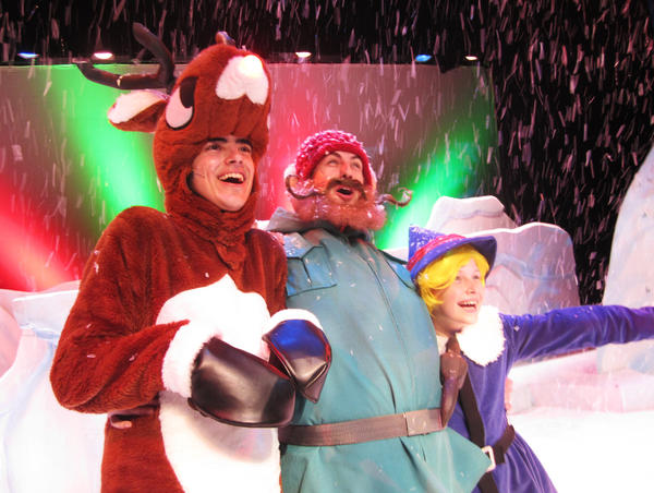 """Rudolph (Nick Mazzini, from left), Yukon Cornelius (Sage Starkey) and Hermey (Jared Warren) set out on an adventure in """"Rudolph the Red-Nosed Reindeer."""""""