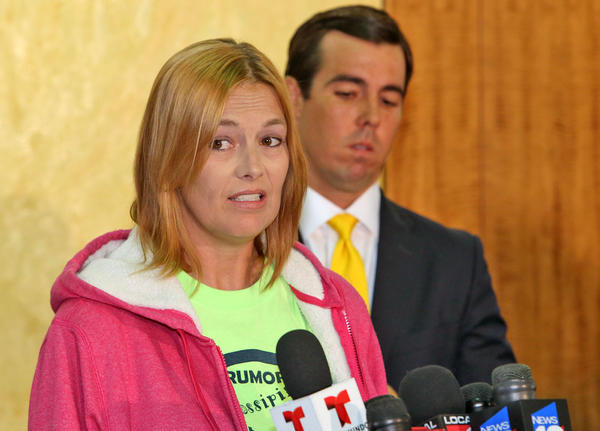 "Tricia Norman, left, mother of Rebecca Ann Sedwick, and her attorney Matt Morgan promised a ""crusade"" against bullying during a press conference Monday, November 25, 2013 in Orlando."