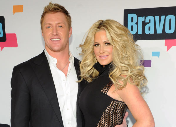 Reality star Kim Zolciak, right, and husband Kroy Biermann of the Atlanta Falcons just welcomed twins.