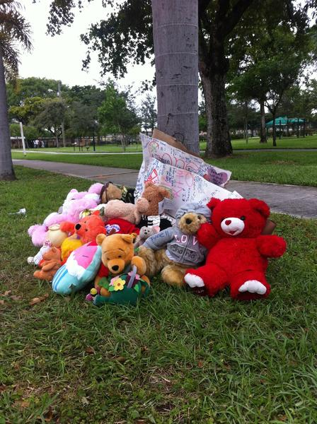 A stuffed-animal memorial, created in remembrance of Shania Miracle Jackson, 12, who died six days after a driver hit her and sped away, sits at the base of a palm tree at Foster Park in Hallandale Beach.