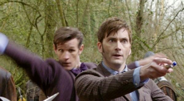 "John Hurt (left), Matt Smith and David Tennant are three faces of the Doctor in ""The Day of the Doctor,"" marking 50 years of ""Doctor Who."""