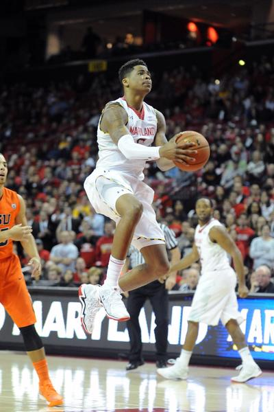 Nick Faust drives to the basket against Oregon State on Nov. 17.