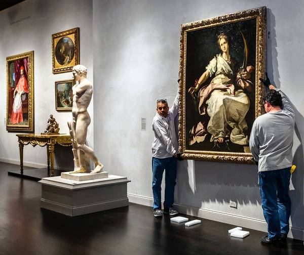The life-size figure of St. Catherine of Alexandria, painted in Genoa around 1615 by Bernardo Strozzi, was installed Monday in the third floor galleries for European art at the Los Angeles County Museum of Art.