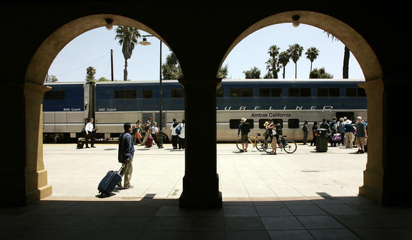 The Pacific Surfliner at the Amtrak Station in Santa Barbara.