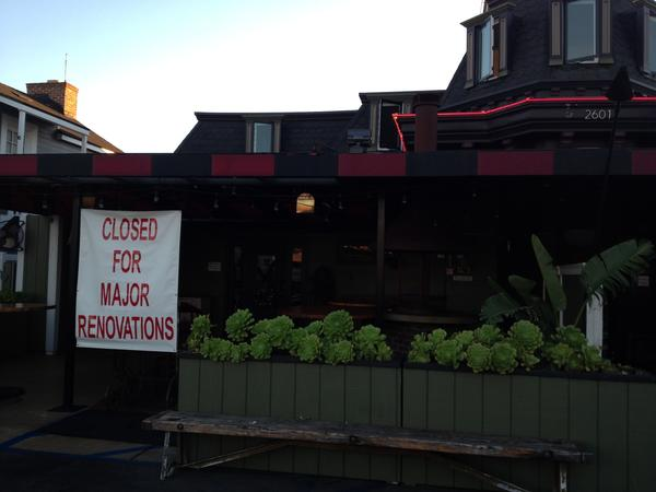 DivBar on West Coast Highway is closed for renovations. One employee said it may get a name and concept change but that could not be confirmed Monday night.