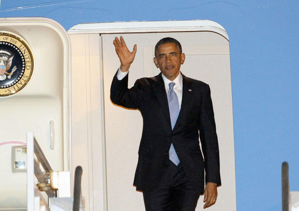 President Obama arrives Monday at LAX. He spoke at two fundraisers in Beverly Hills in the evening and planned to visit Dreamworks Animation in Glendale on Tuesday.