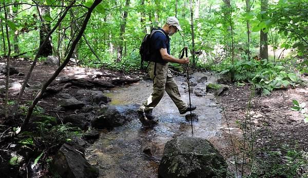 Tom Gettings, a consultant for the Wildlands Conservancy, crosses the Rodale Run along the Alpine Street Trailhead in the Wildlands Conservancy - South Mountain Preserve in Emmaus.