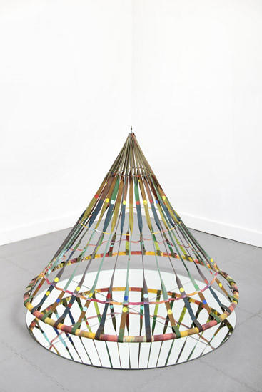 "Alan Shields' ""Dance Bag"" (1985), made of acrylic, canvas, glass beads, thread, aluminum tubing and mirror, is at Cherry and Martin."
