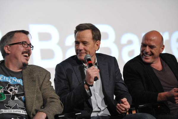 From left, show creator and executive producer Vince Gilligan, Bryan Cranston, and Dean Norris.
