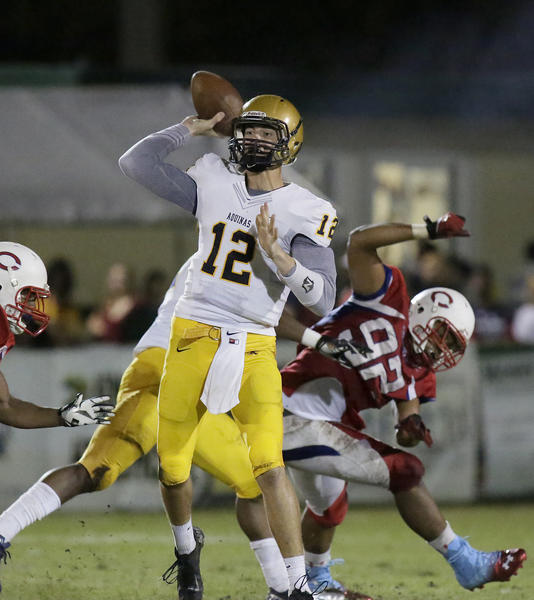 St. Thomas Aquinas quarterback Wade Freeback will face Dwyer on Friday in a Class 7A regional final.