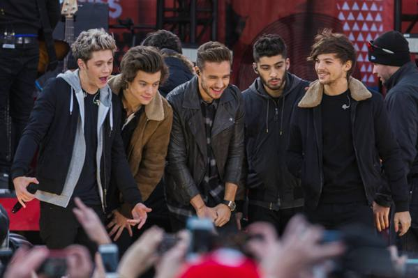 Members of the band One Direction, (L-R) Niall Horan, Harry Styles, Liam Payne, Zayn Malik, and Louis Tomlinson, stand together during their performance on ABC's Good Morning America inside Central Park in New York, November 26, 2013.