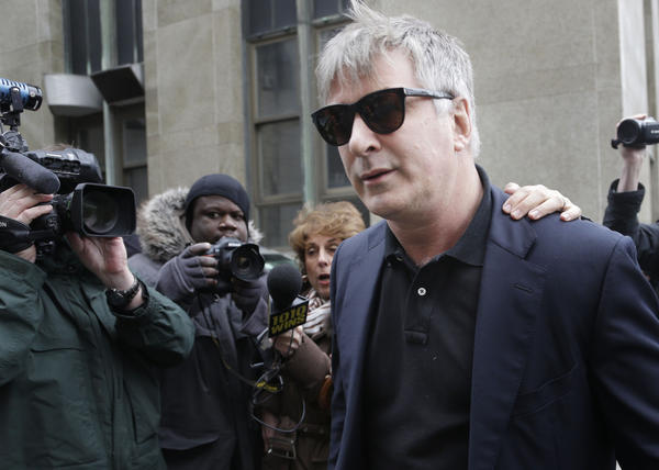 Alec Baldwin leaves criminal court in New York after testifying in the case of Canadian actress Genevieve Sabourin, who was later found guilty of stalking the actor.