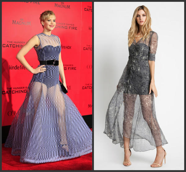 Jennifer Lawrence, left, wears a sheer Dior Couture gown. The Monk dress, right, on Stylesaint.com provides a similar look.