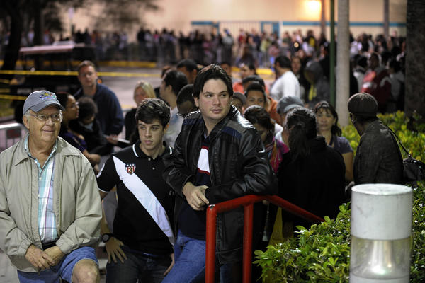 Shoppers stand in line waiting for the Sawgrass Mills BrandsMart USA store to open at 10pm, Thursday, November 24, 2011. Michael Laughlin, South Florida Sun Sentinel