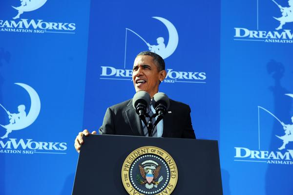 President Barack Obama speaks on the economy at DreamWorks Animation in Glendale on Tuesday.
