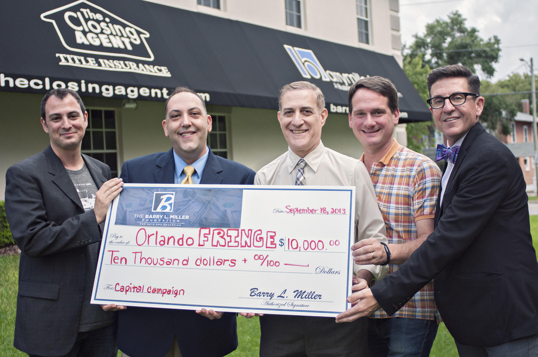 The Barry L. Miller Foundation for Arts and Education presented $10,000 to the Orlando Fringe Festival. Pictured (from left): Mike Marinaccio, Orlando Fringe Festival producer; George Wallace, Orlando Fringe general manager; Barry L. Miller, founder of the Barry L. Miller Foundation for Arts and Education; Kenny Howard, theater director and Broadway producer; and David F. Baldree, Orlando Fringe president.