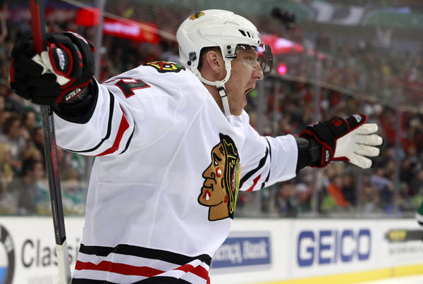 Chicago Blackhawks right wing Marian Hossa celebrates scoring a goal in the first period against the Dallas Stars at American Airlines Center.