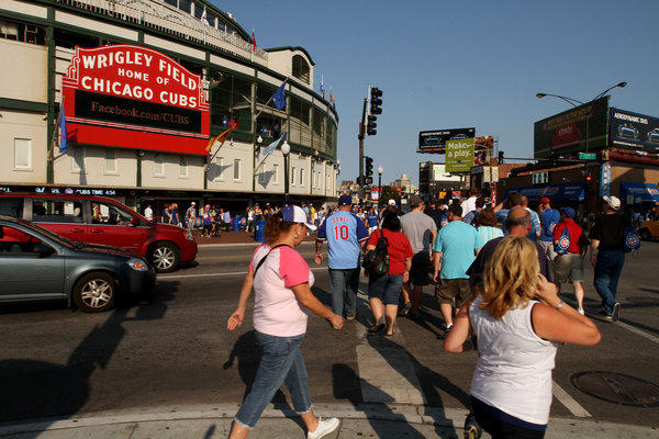 The corner of Clark and Addison is full before a Cubs-Brewers game in August 2012.