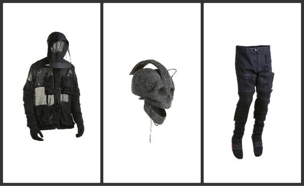 A veil jacket, left, a skull backpack and Military Musculature trousers are part of Aitor Throup's debut menswear collection.