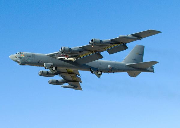 A U.S. B-52 Stratofortress bomber. The Air Force bases B-52 bombers in Guam, but Pentagon officials would not comment on the type of bomber used in the flight over the East China Sea.