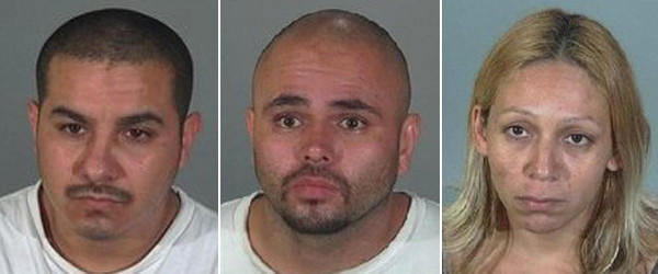 Michael Frank Trujillo, 31, left, of Long Beach; Ernie Lee Ramos Jr., 33, of Carson; and Angelina Marie Garcia, 33, of Carson were arrested in connection with the death of a 43-year-old man, according to the Torrance Police Department.