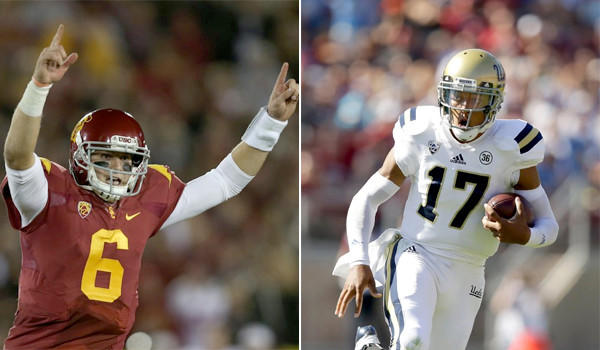 USC's Cody Kessler, left, and UCLA's Brett Hundley won't face each other until Saturday, but the pranks between the two rival schools have already kicked off.
