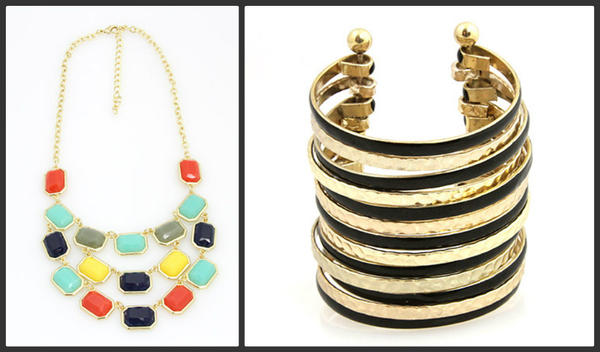 Jewelry offerings from Vicolo Mio include a multicolored rectangular bib necklace, $30, and hammered black and gold connector cuff, $36.