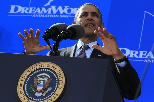 President Obama speaks at the DreamWorks Animation studio in Glendale on Tuesday.