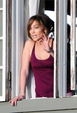 "Jennifer Lopez on the set of  ""The Boy Next Door"" in Los Angeles."