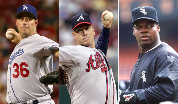 Greg Maddux, left, Tom Glavine, center, and Frank Thomas, right, were named to the baseball Hall of Fame ballot.