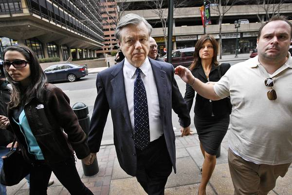 Former state Sen. Vince Fumo, left, approaches a federal courthouse in Philadelphia with his then-friend and ally, Andrew Cosenza, for a hearing in March of 2009.