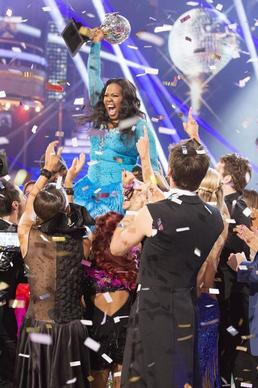 "DANCING WITH THE STARS - ""Episode 1711A"" - Amber Riley and Derek Hough were crowned Season 17 Champions and awarded the coveted Mirror Ball Trophy, on the two-hour Season Finale on ""Dancing with the Stars,"" TUESDAY, NOVEMBER 26 (9:00-11:00 p.m., ET), on ABC. (ABC/Adam Taylor)