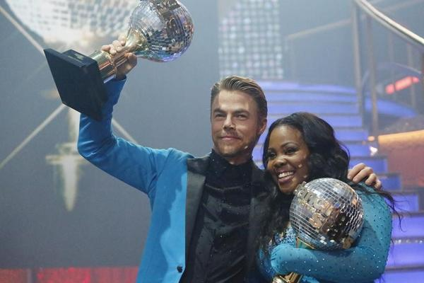 "Amber Riley and Derek Hough were crowned champions on ""Dancing With the Stars."""